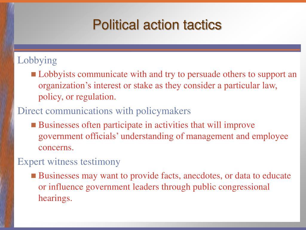 Political action tactics