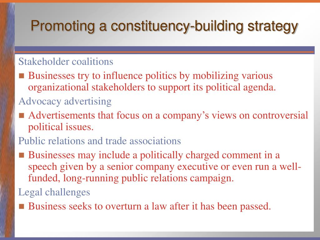 Promoting a constituency-building strategy