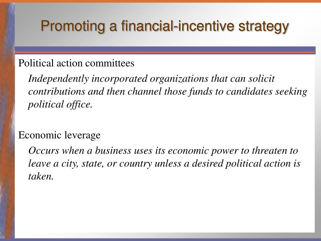 Promoting a financial-incentive strategy