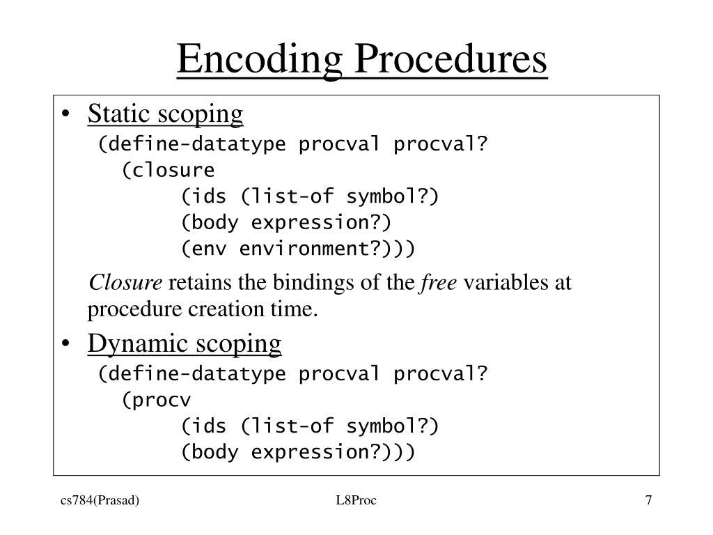 Encoding Procedures