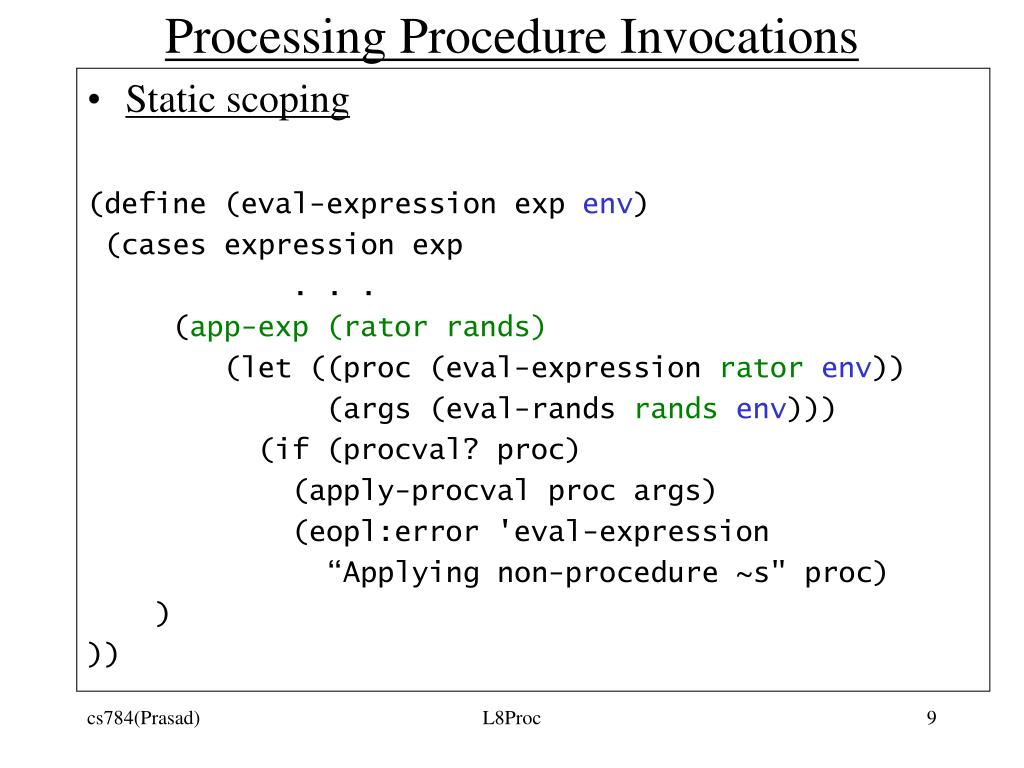 Processing Procedure Invocations