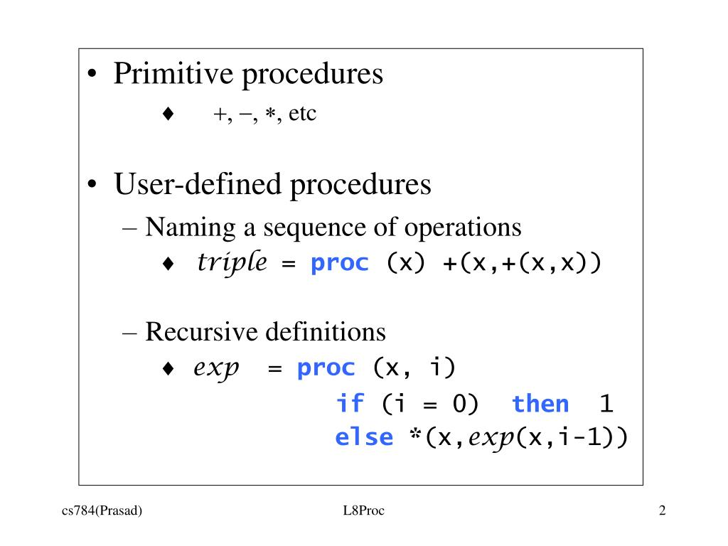 Primitive procedures