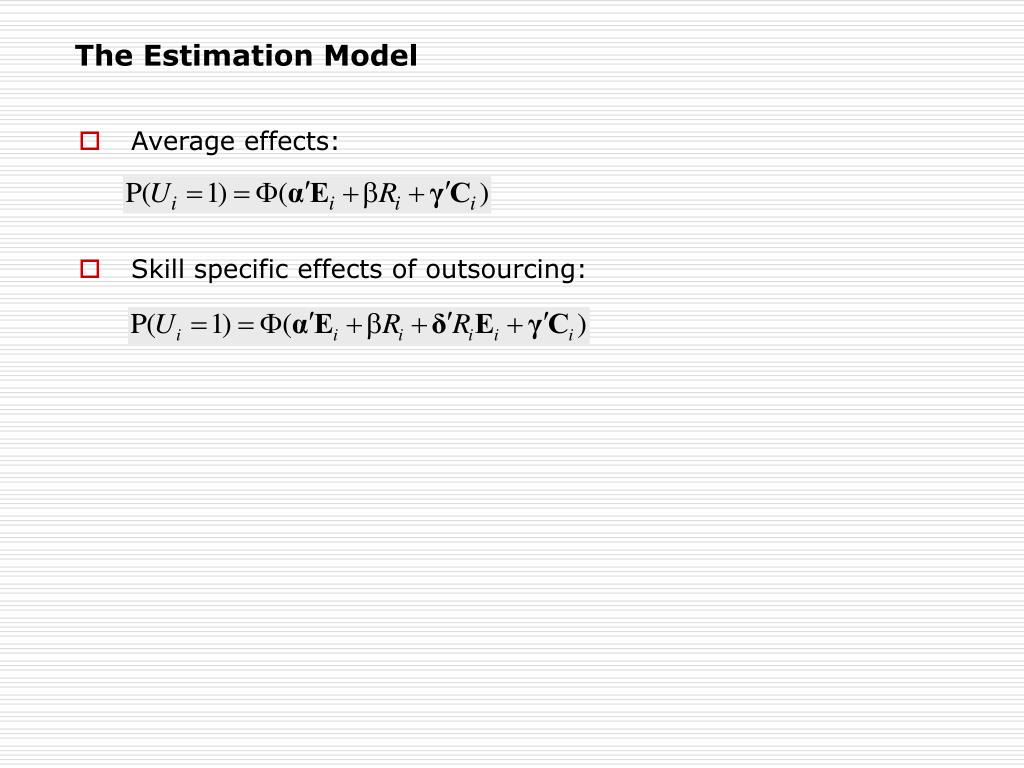 The Estimation Model