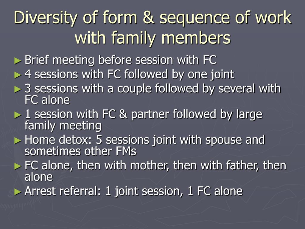 Diversity of form & sequence of work with family members