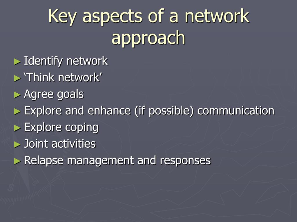 Key aspects of a network approach