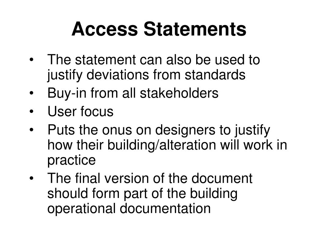 Access Statements