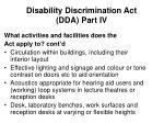 disability discrimination act dda part iv5