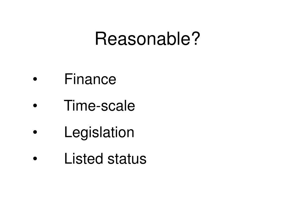Reasonable?