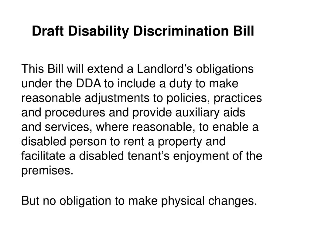 Draft Disability Discrimination Bill