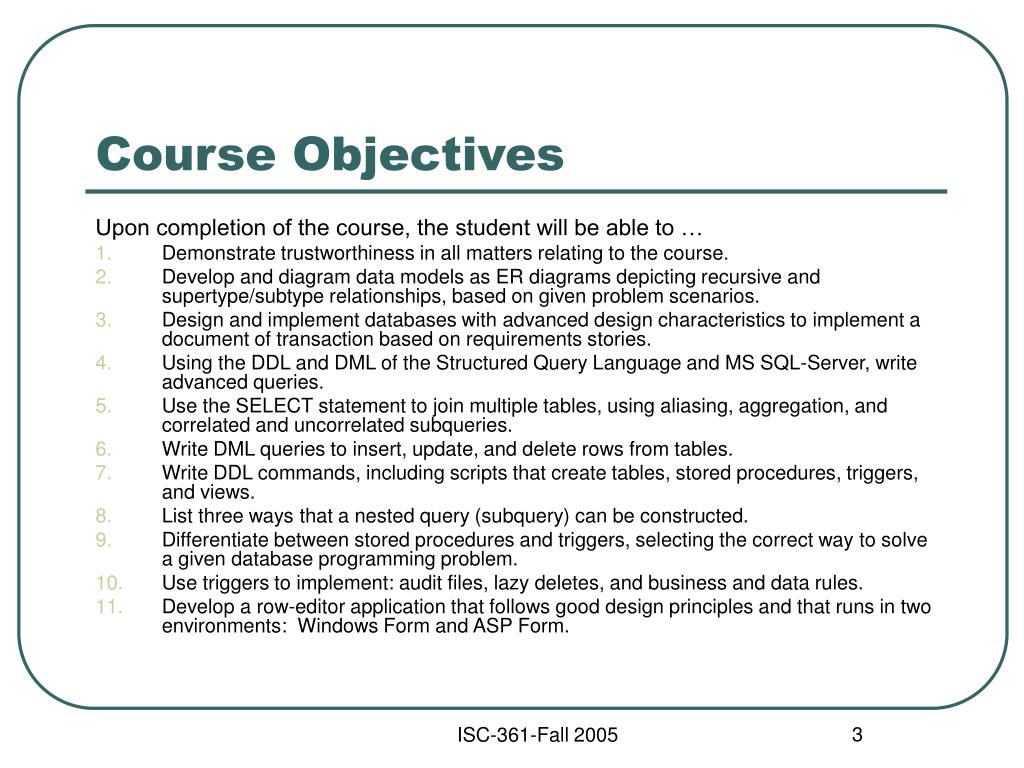 training objectives Sample learning objectives: observable and/or measurable samples students must demonstrate that they can: x identify an appropriate contemporary media issue.