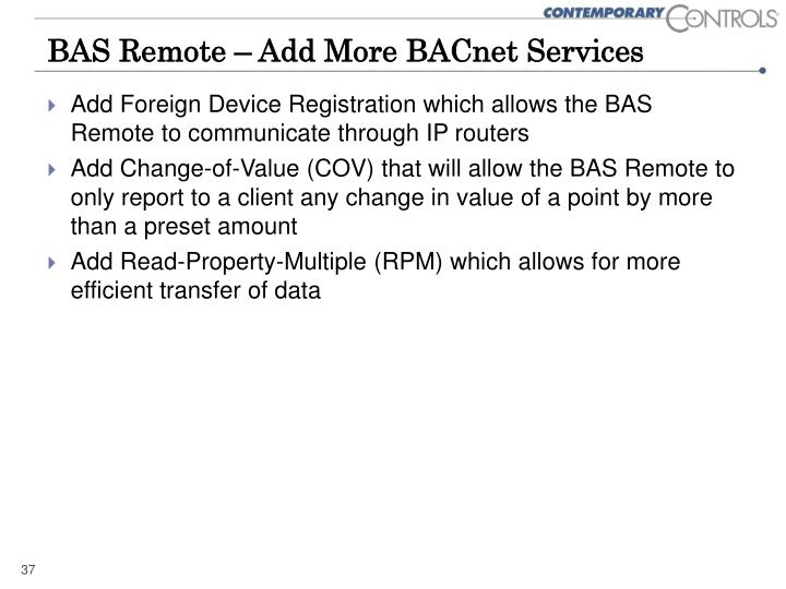 BAS Remote – Add More BACnet Services