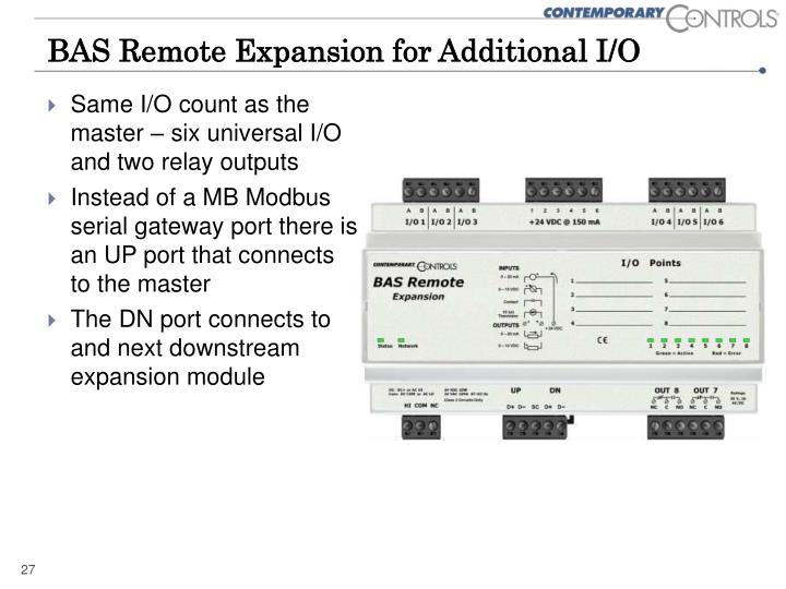 BAS Remote Expansion for Additional I/O