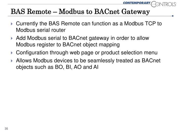 BAS Remote – Modbus to BACnet Gateway