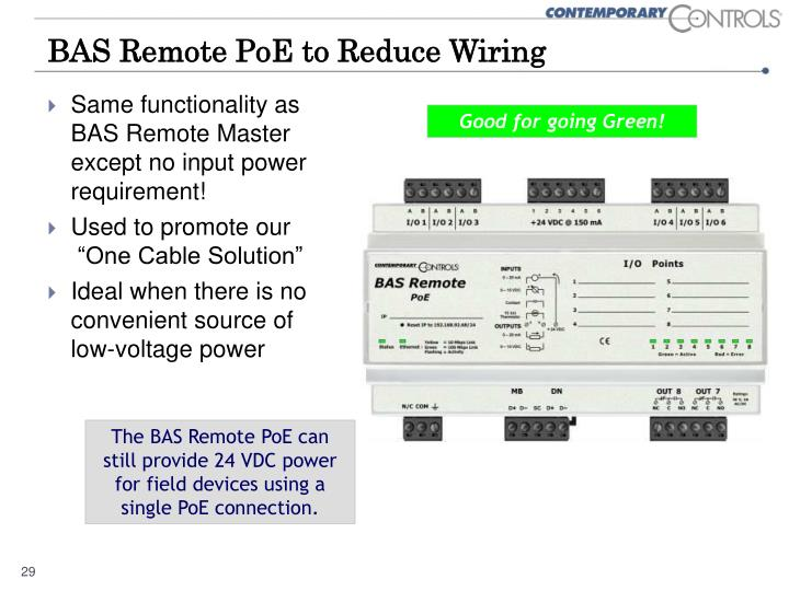 BAS Remote PoE to Reduce Wiring