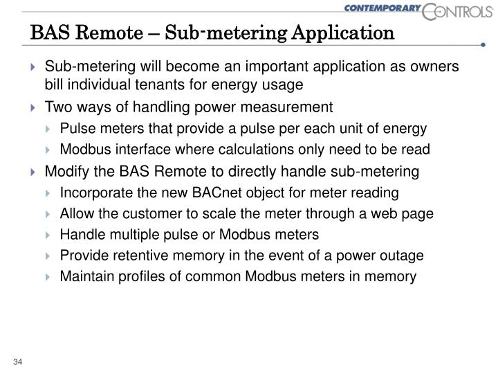 BAS Remote – Sub-metering Application