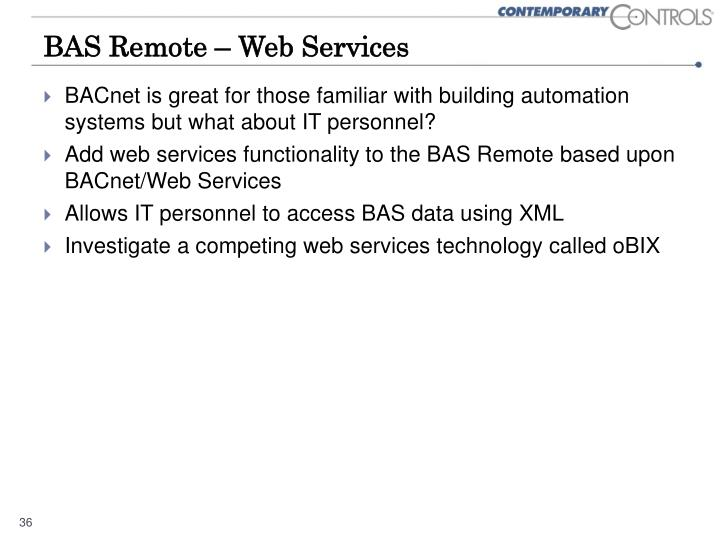 BAS Remote – Web Services