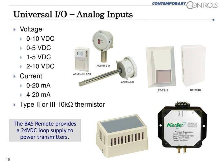 Universal I/O − Analog Inputs