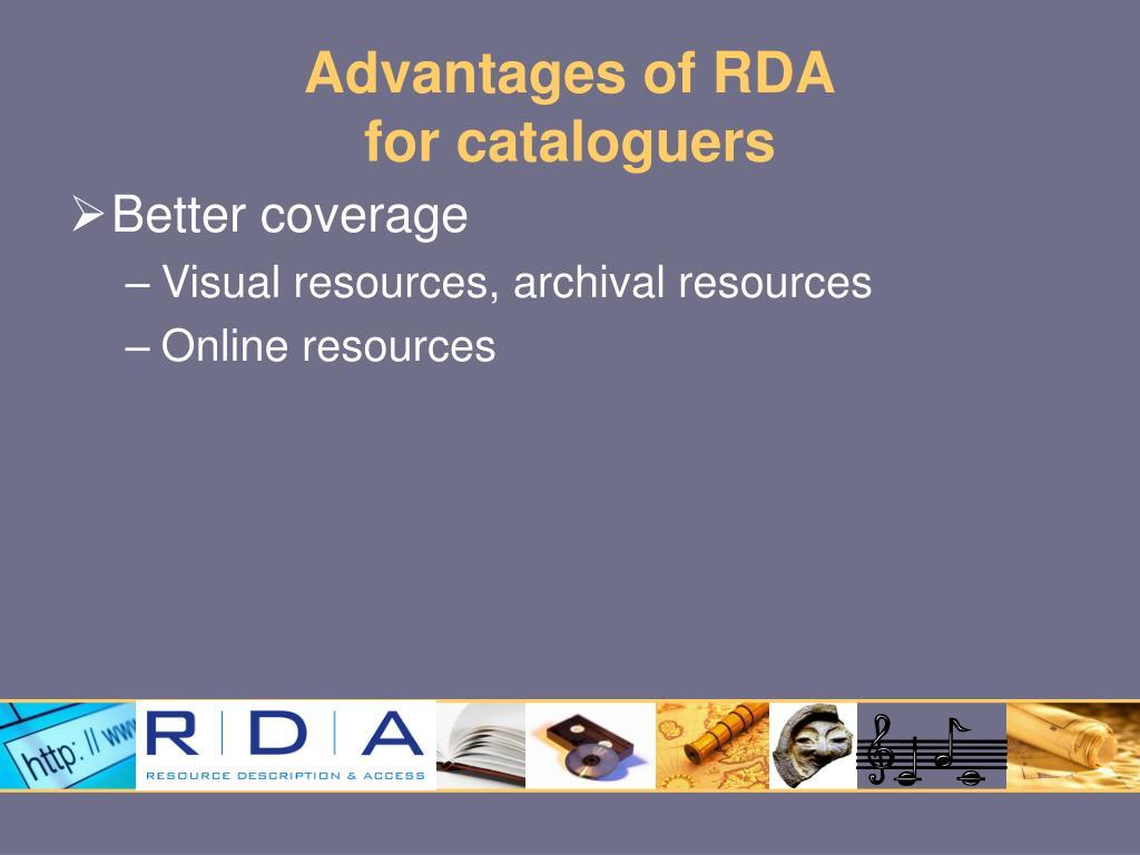 Advantages of RDA