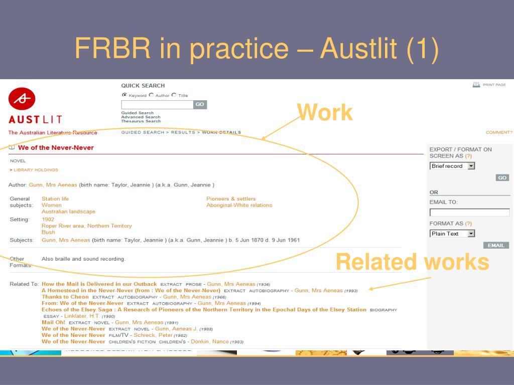 FRBR in practice – Austlit (1)