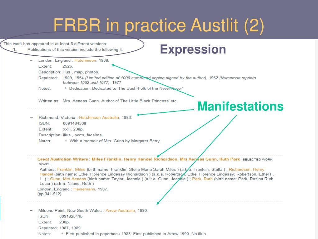 FRBR in practice Austlit (2)