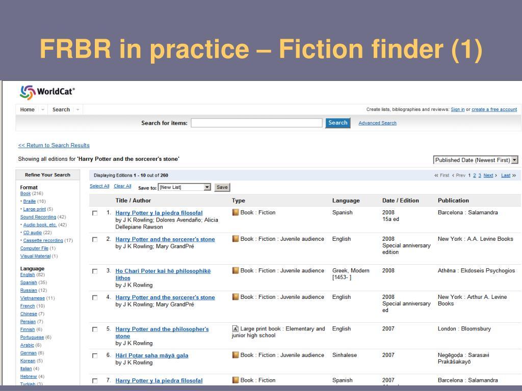 FRBR in practice – Fiction finder (1)
