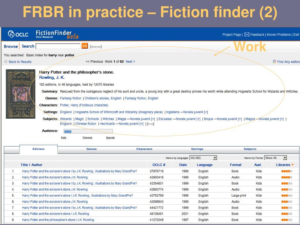 FRBR in practice – Fiction finder (2)