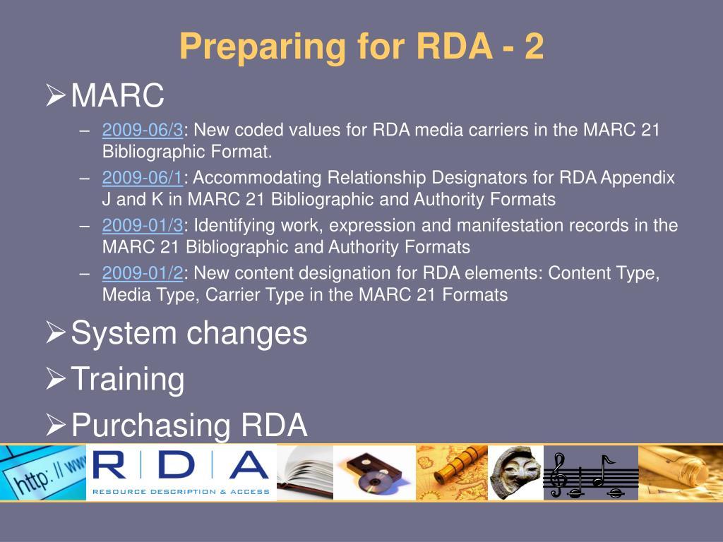 Preparing for RDA - 2