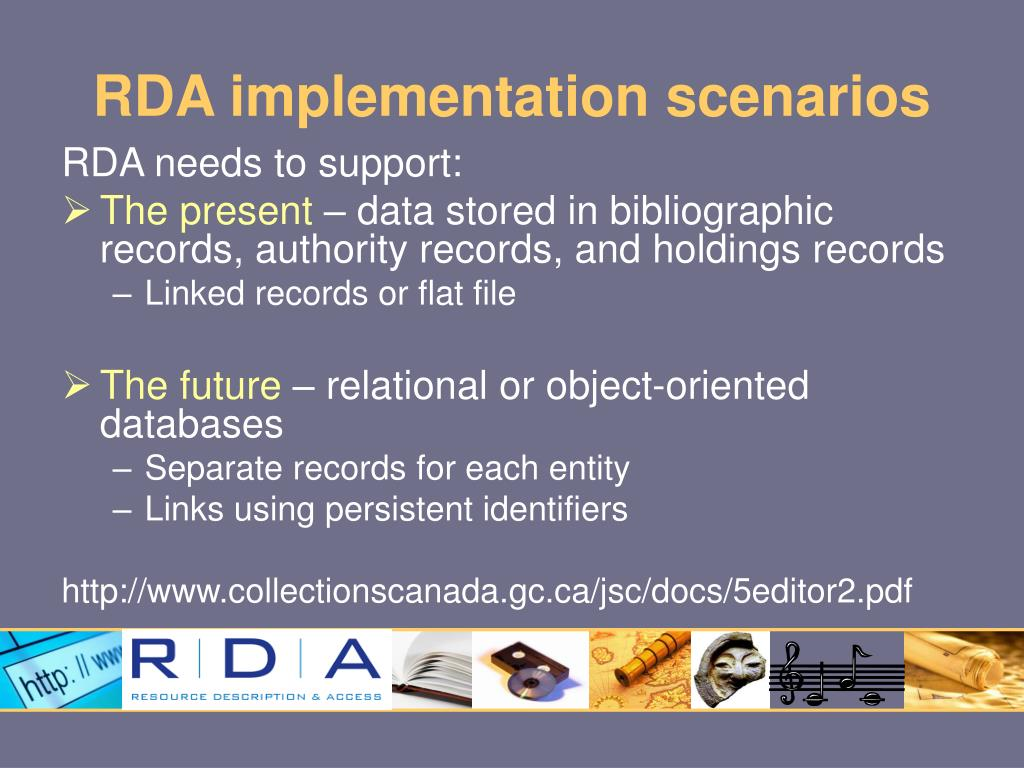 RDA implementation scenarios