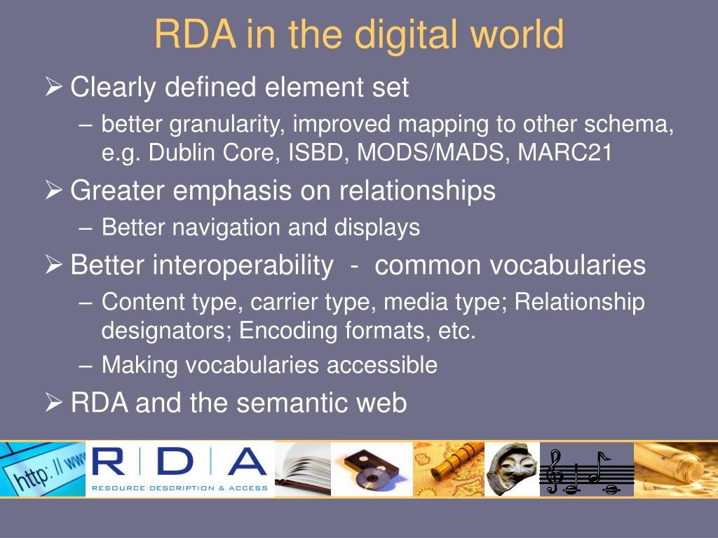 RDA in the digital world