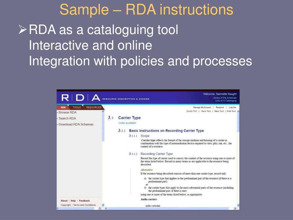 Sample – RDA instructions
