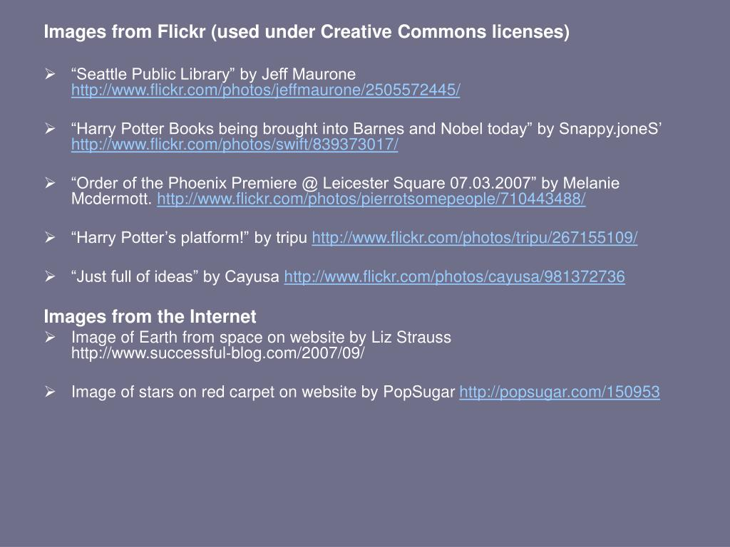 Images from Flickr (used under Creative Commons licenses)