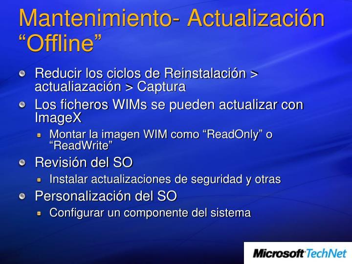 """Mantenimiento- Actualización """"Offline"""""""