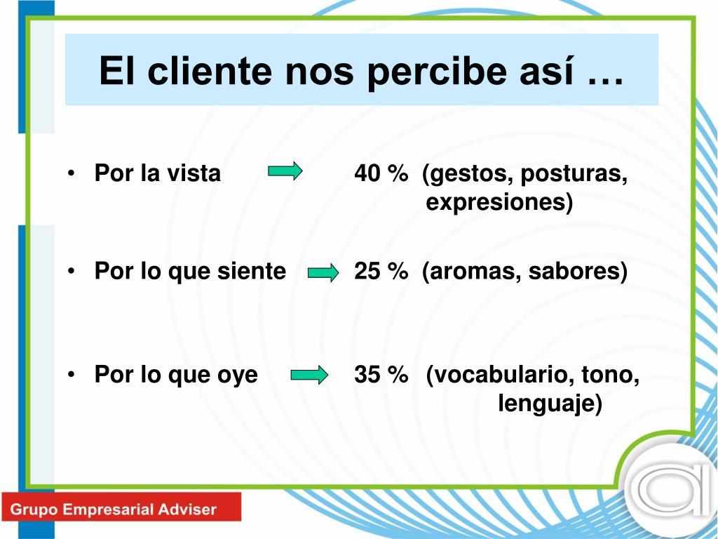 Por la vista 40 %  (gestos, posturas, expresiones)