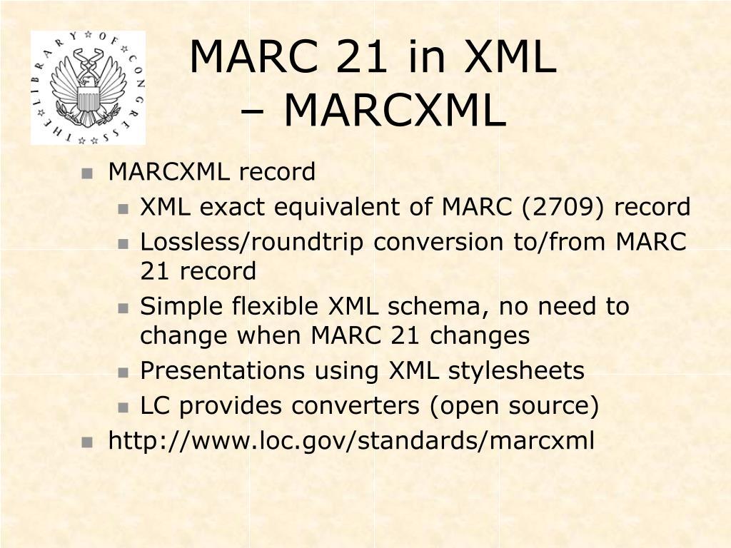 MARC 21 in XML – MARCXML