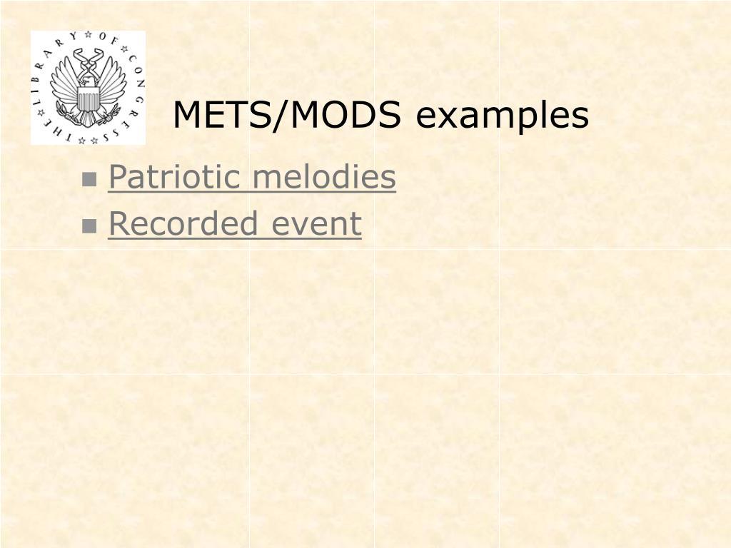 METS/MODS examples