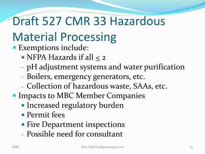 Draft 527 CMR 33 Hazardous Material Processing