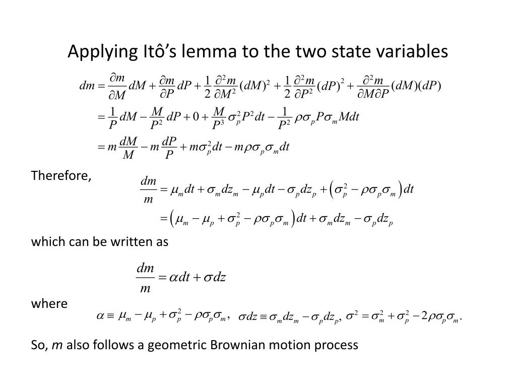 Applying Itô's lemma to the two state variables
