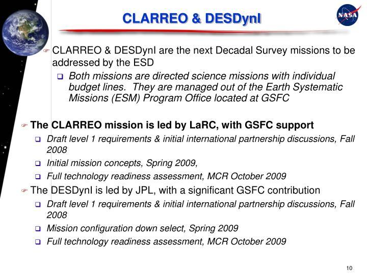 CLARREO & DESDynI