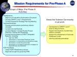 mission requirements for pre phase a