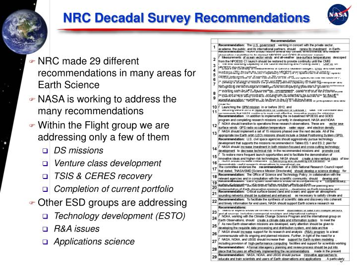 NRC Decadal Survey Recommendations