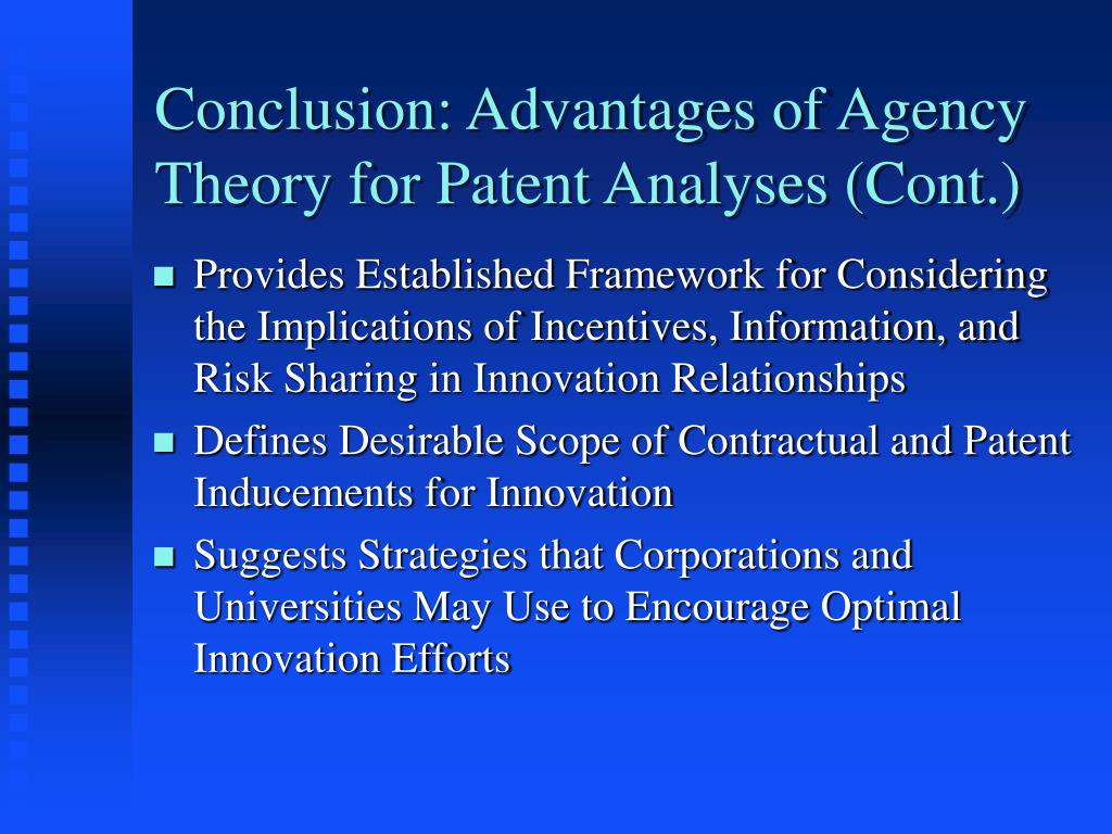 Conclusion: Advantages of Agency Theory for Patent Analyses (Cont.)