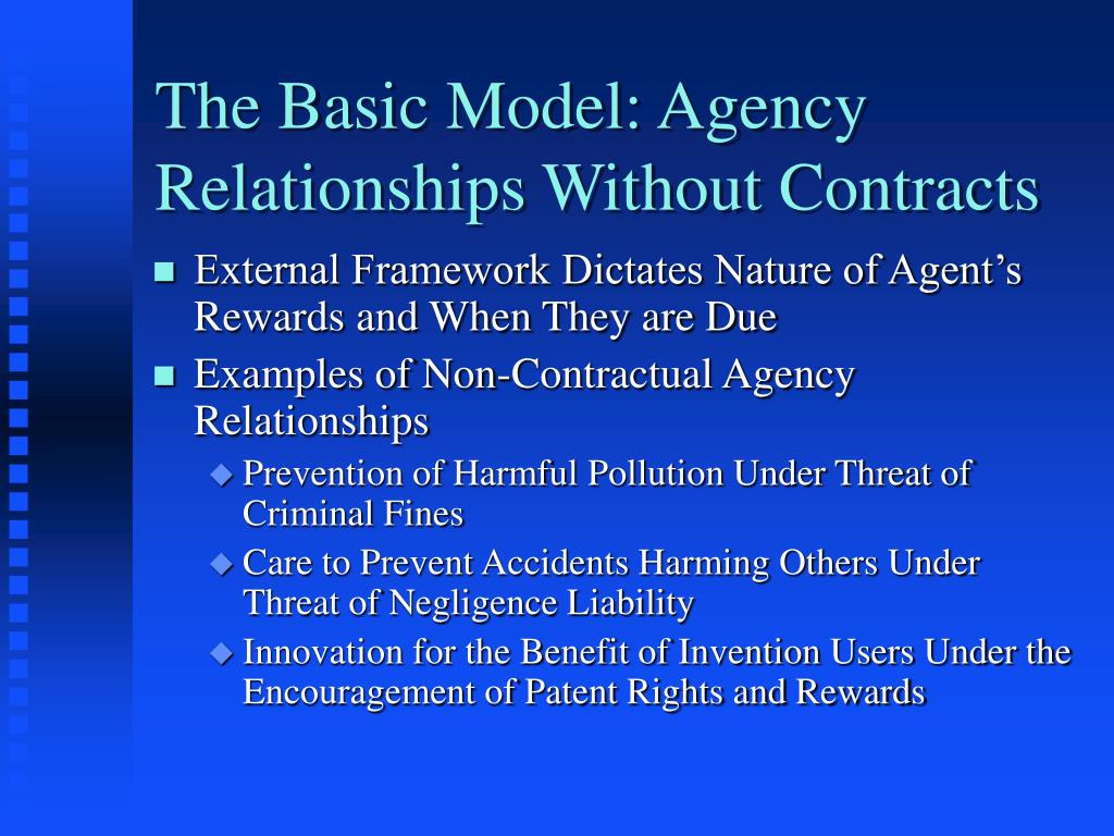The Basic Model: Agency Relationships Without Contracts