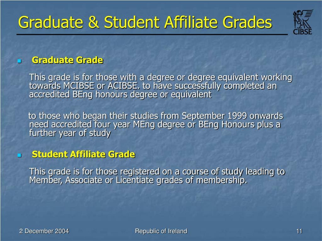 Graduate & Student Affiliate Grades