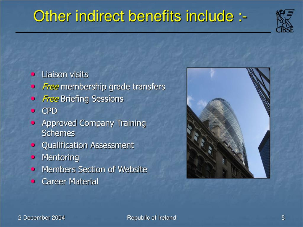 Other indirect benefits include :-