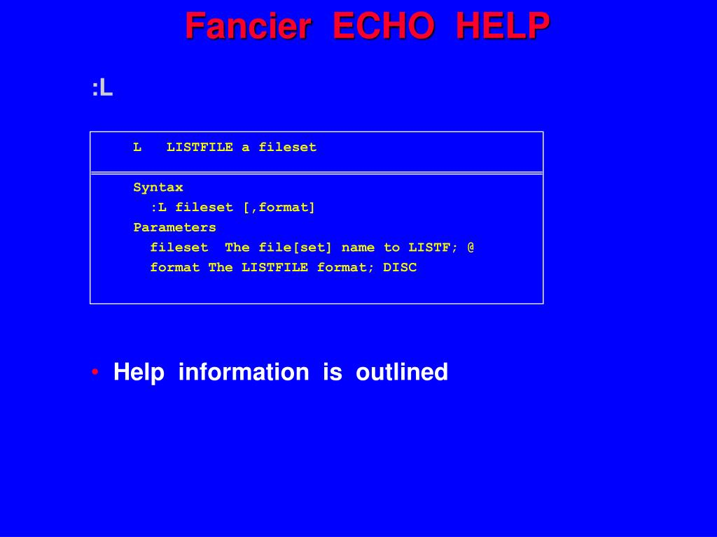 Fancier  ECHO  HELP