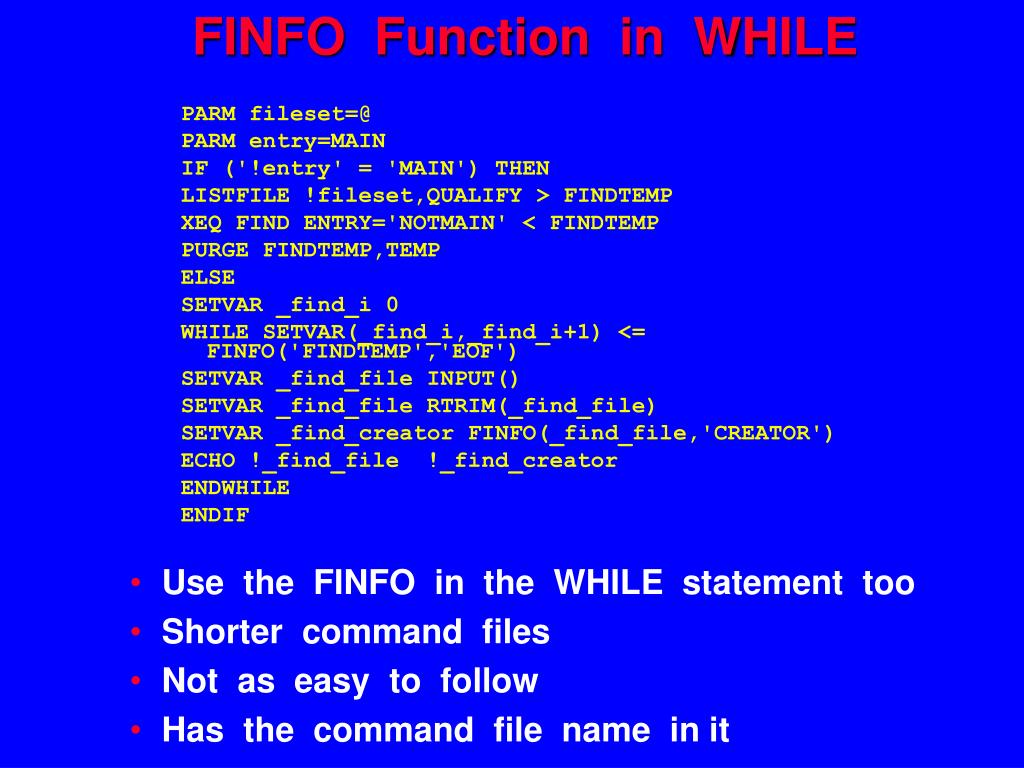 FINFO  Function  in  WHILE