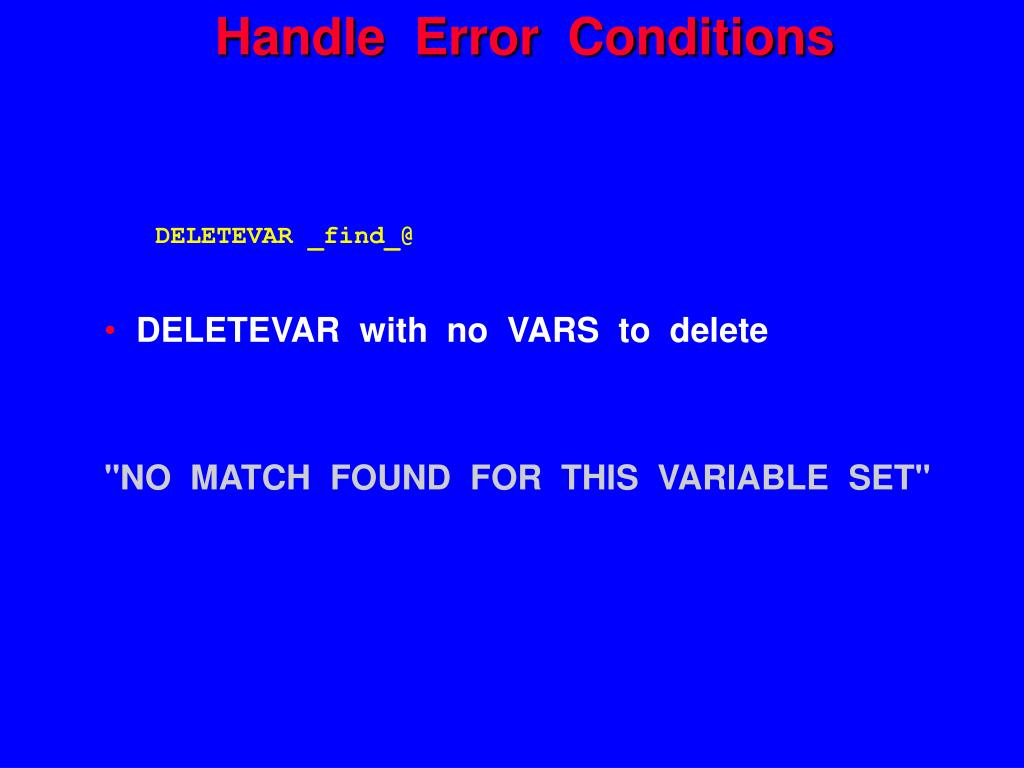 Handle  Error  Conditions