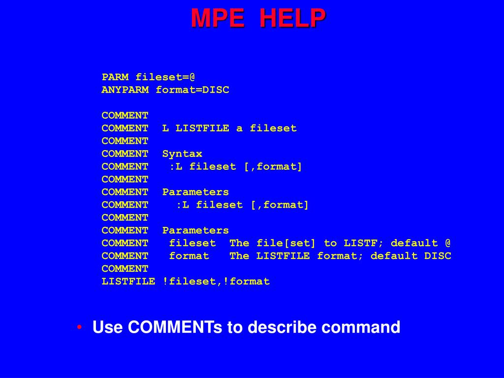 MPE  HELP