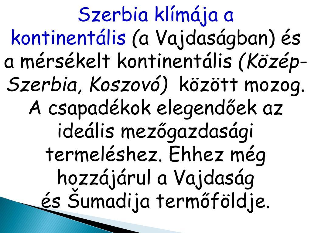 Szerbia klímája a kontinentális
