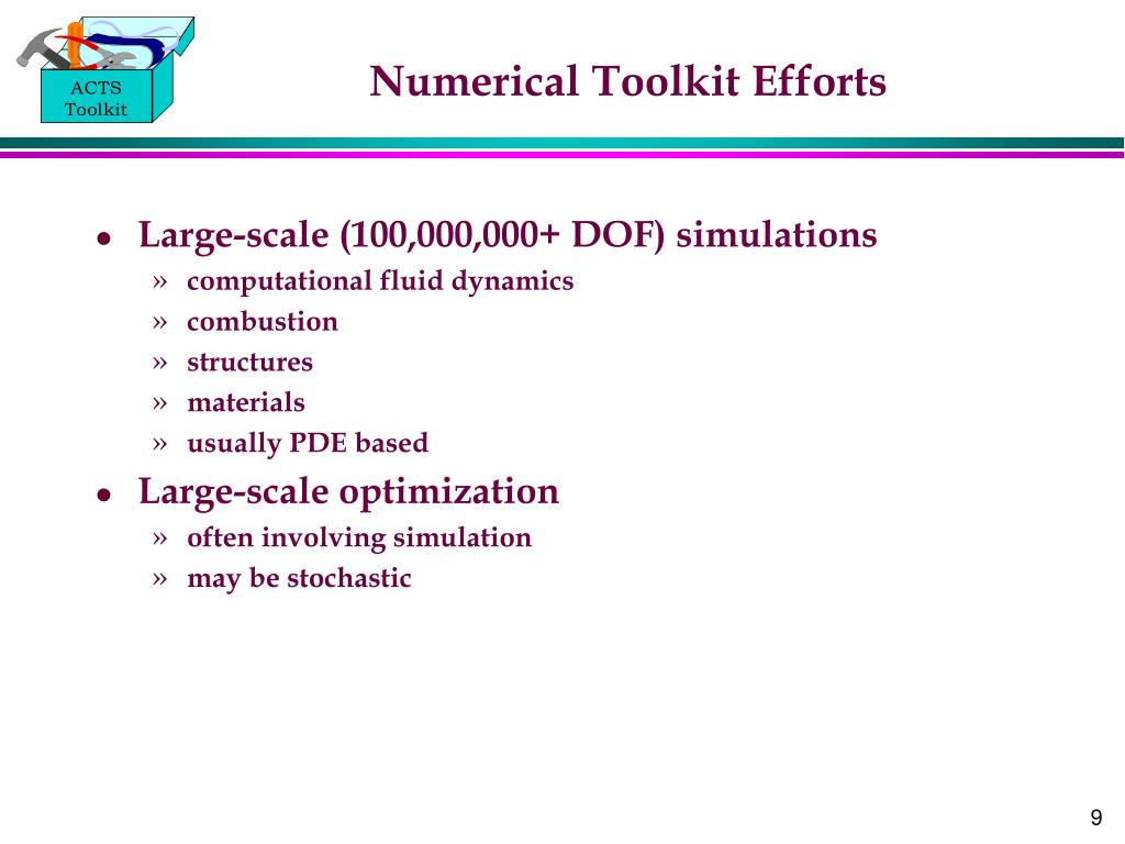 Numerical Toolkit Efforts